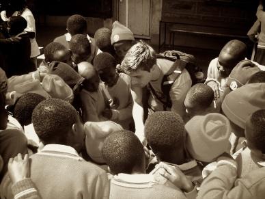 performing for children in Kenya